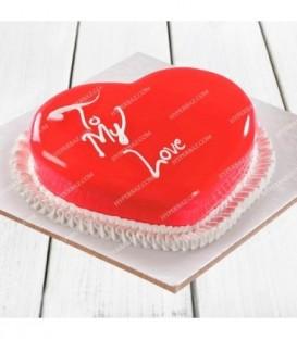 کیک توت فرنگی قلبی