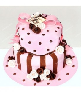 کیک تولد 2 طبقه طرح صورتی