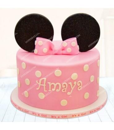 کیک صورتی طرح مینی موس