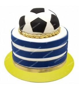 کیک طرح توپ فوتبال آبی