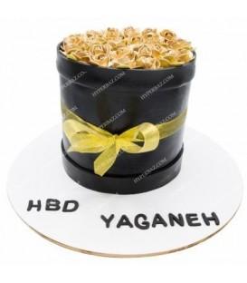 کیک طرح رز طلایی
