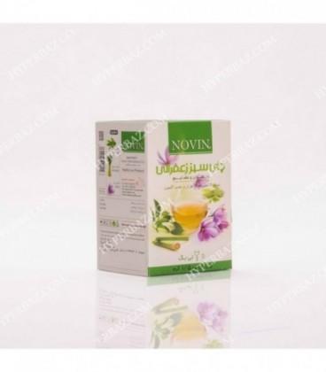 چای سبز کیسه ای خارجی با هل زعفرانی 12 عددی نوین زعفران