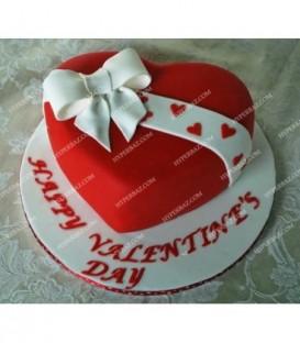 کیک عاشقانه رد هارت طرح پاپیون