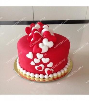 کیک عاشقانه رد هارت طرح قلب