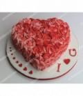 کیک عاشقانه طرح گل قرمز