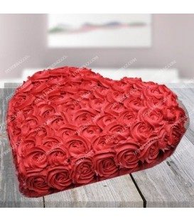 کیک رد هارت طرح گلهای رز قرمز