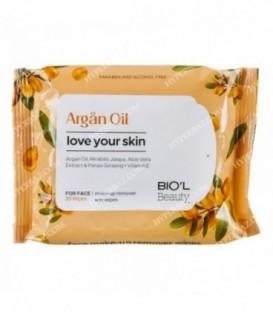 دستمال مرطوب پاك كننده آرایش صورت پوستهای خشك و حساس روغن آرگان 20 برگی بیول