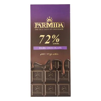 شکلات تابلت تلخ 72% 80 گرمی پارميدا