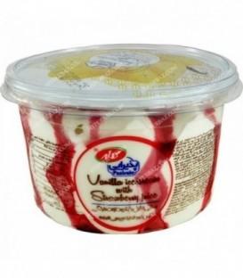 بستنی لیوانی لیتری وانیلی با شهد توت فرنگی کاله