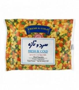 مخلوط سبزیجات (ذرت، نخود سبز، هویج) 400 گرمی سرد و تازه