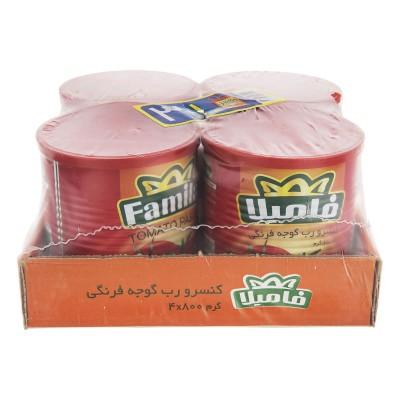 رب گوجه فرنگي 800 گرمي فاميلا (پک 4 عددی)