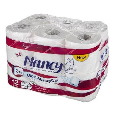 دستمال توالت حجيم شده 12 قلو نانسي